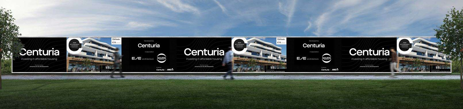 branded hoarding at Centuria development sites