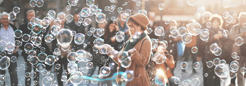 lady amongst bubbles