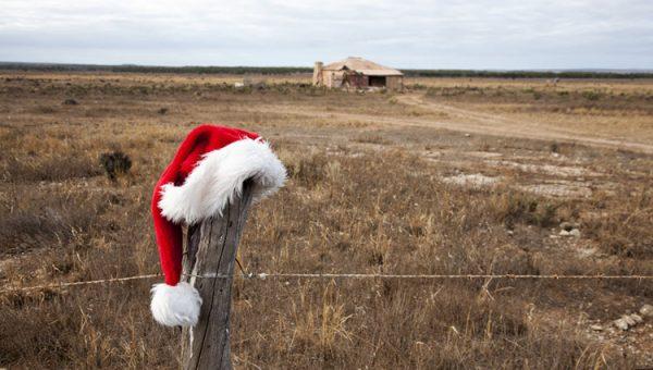 Santa hat on a fence post